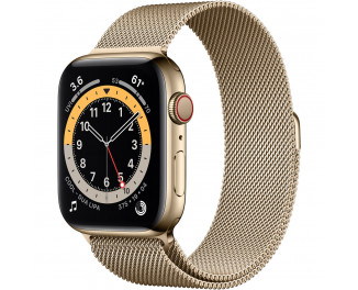 Смарт-часы Apple Watch Series 6 GPS + Cellular 44mm Gold Stainless Steel Case with Gold Milanese Loop (M07P3 | M09G3)