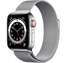 Смарт-часы Apple Watch Series 6 GPS + Cellular 44mm Silver Stainless Steel Case with Silver Milanese Loop (M07M3 | M09E3)