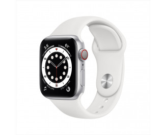 Смарт-часы Apple Watch Series 6 GPS + Cellular 44mm Silver Stainless Steel Case with White Sport Band (M07L3 | M09D3)
