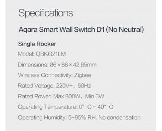 Умный настенный выключатель Aqara Wall Light Switch D1 (Single-Button) (QBKG21LM/AK043CNW01)