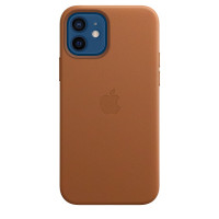 Чехол для Apple iPhone 12 / 12 Pro  Leather Case with MagSafe Saddle Brown