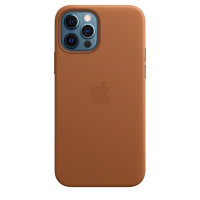 Чехол для Apple iPhone 12 Pro Max  Leather Case with MagSafe Saddle Brown