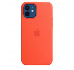 Чехол для Apple iPhone 12 / 12 Pro  Silicone Case with MagSafe and Splash Screen Electric Orange
