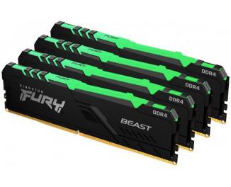 Оперативная память DDR4 64 Gb (3600 MHz) (Kit 16 Gb x 4) Kingston Fury Beast RGB Black (KF436C18BBAK4/64)