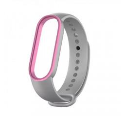Силиконовый ремешок Xiaomi Mi Band 5/6 Gray/Pink