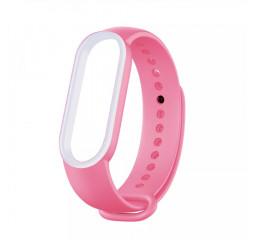 Силиконовый ремешок Xiaomi Mi Band 5/6 Pink/White